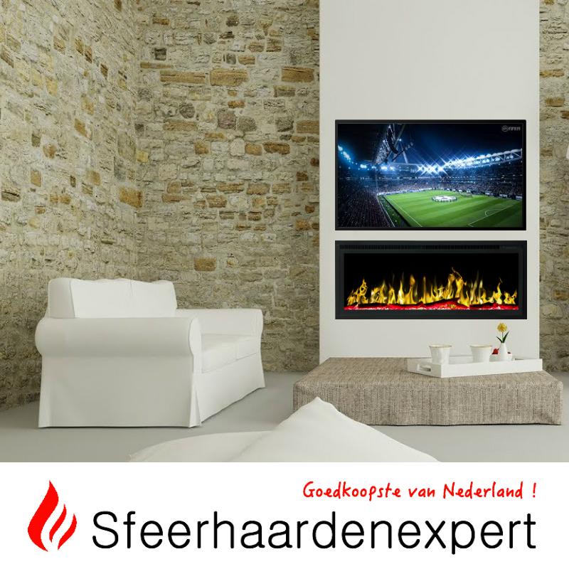 Televisiewand met haard 128cm